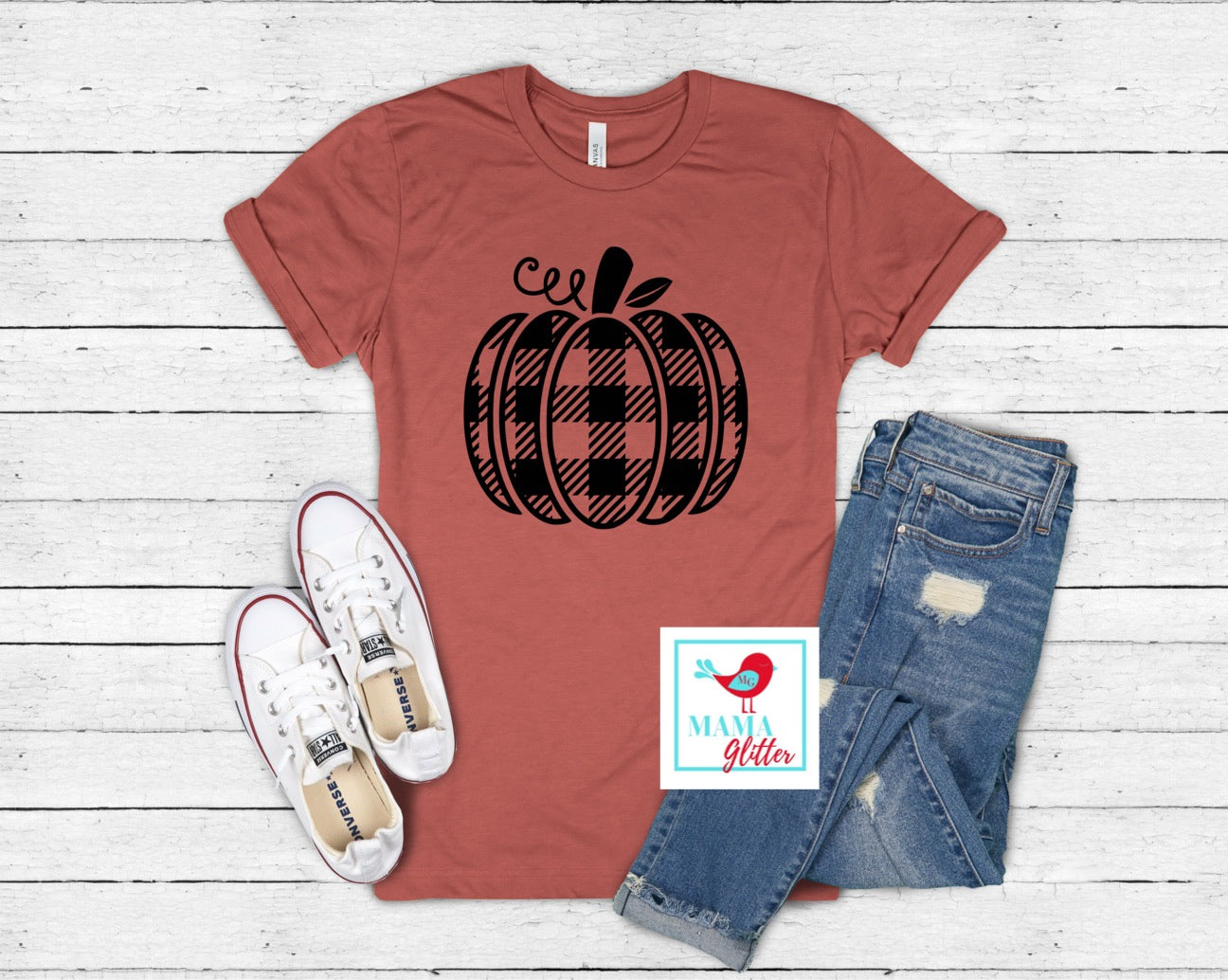 Plaid Pumpkin- Black Print
