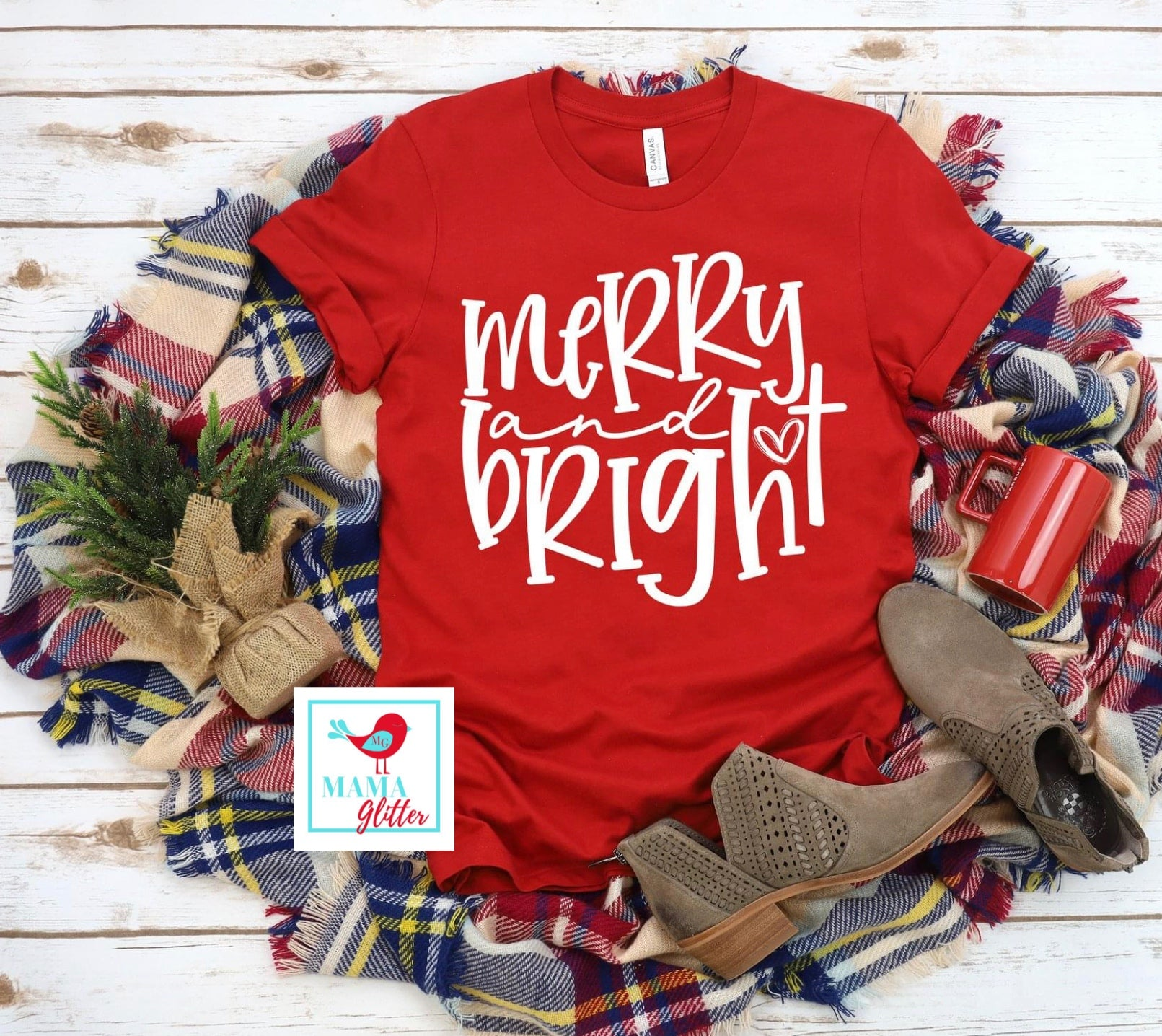 Merry and Bright-White Print