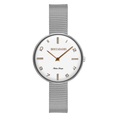 Clock knitted mesh silver with indices gold plated pink