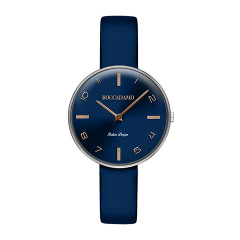 Clock with leather strap blue and rose indexes