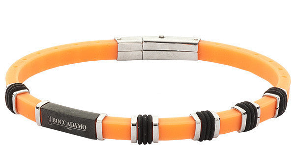 Man in orange rubber bracelet and passers-steel