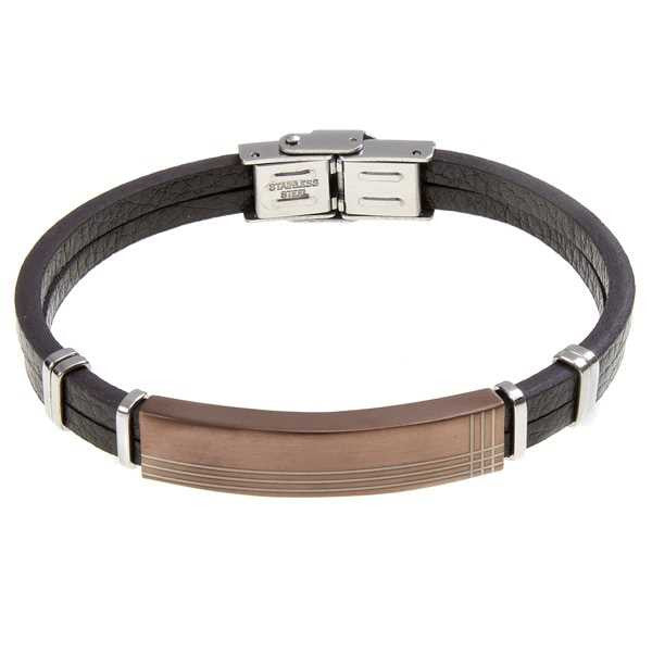 Bracelet in brown leather and steel with PVD rosato