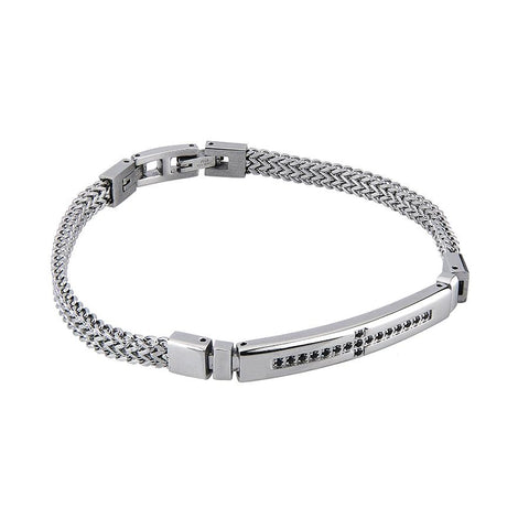 Related product : Double Bracelet spiga in steel and central zircons