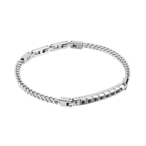 Related product : Steel Bracelet mesh braided cin core modules and zircons
