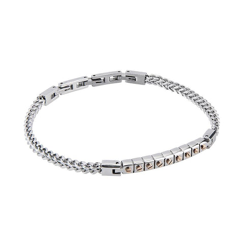 Related product : Steel Bracelet mesh braided cin core modules and zircons champagne