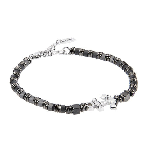 Related product : Bracelet with small cubes of hematite, smooth shirts and central yet