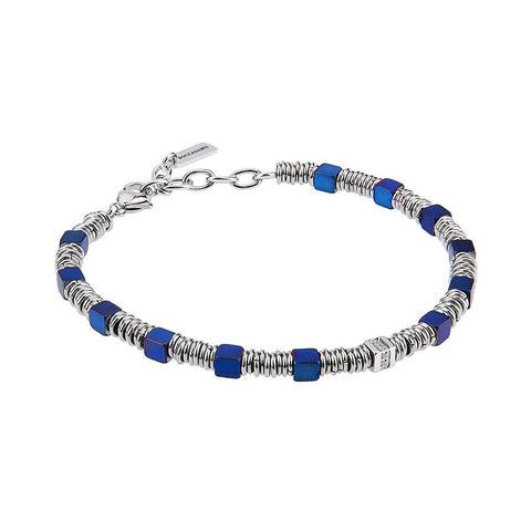 Related product : Bracelet with cubes in PVD blue, smooth shirts and zircons