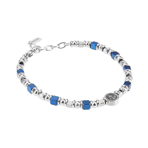 Related product : Bracelet with cubes in PVD blue and rodiati and circular central with still