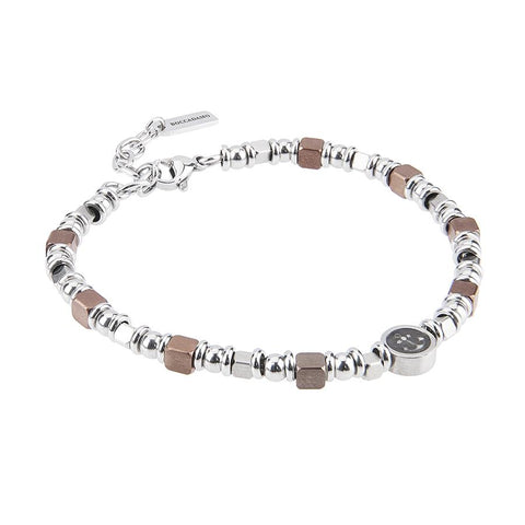 Related product : Bracelet with cubes in PVD brown and rodiati and circular central with still