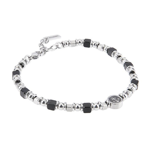 Related product : Bracelet with cubes in black PVD rodiati and central and circlare with still