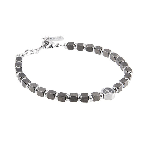 Related product : Bracelet with cubes in PVD black and circular central with still