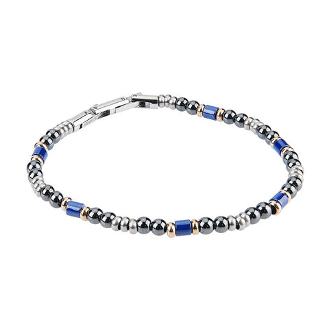 Related product : Steel Bracelet with balls of obsidian and ceramic inserts blue