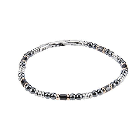 Related product : Steel Bracelet with balls of obsidian and ceramic inserts black