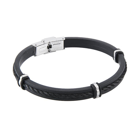 Related product : Bracelet in caucciù and lanyard marino black