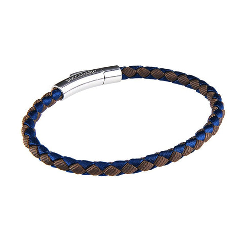 Related product : Bracelet in blue leather and fabric inttecciato brown