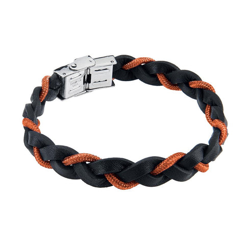 Related product : Bracelet Braided leather lanyard marino orange