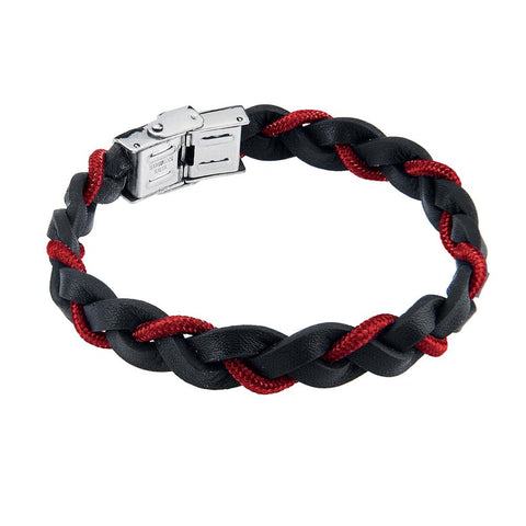 Related product : Bracelet to the braid in black leather with lanyard marino red