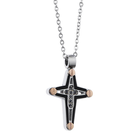 Related product : Necklace with crucifix in PVD black and zircons