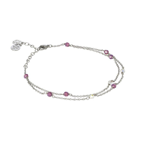 Related product : Ankle band double thread with SWAROVSKI amethyst and aurora borealis