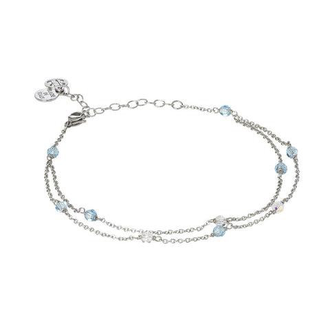 Related product : Ankle band double thread with SWAROVSKI aquamarine and aurora borealis