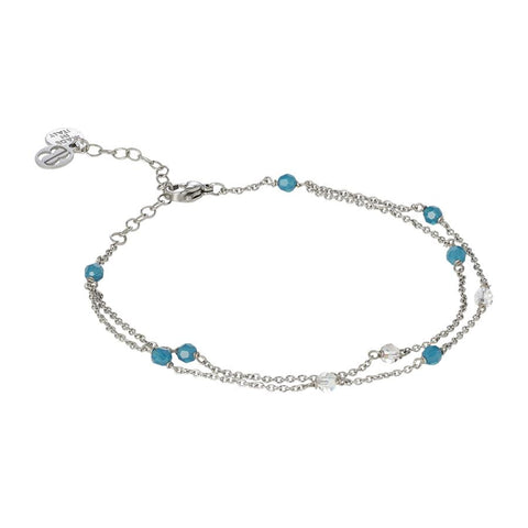 Related product : Ankle band double thread with SWAROVSKI carribean blue opal and aurora borealis