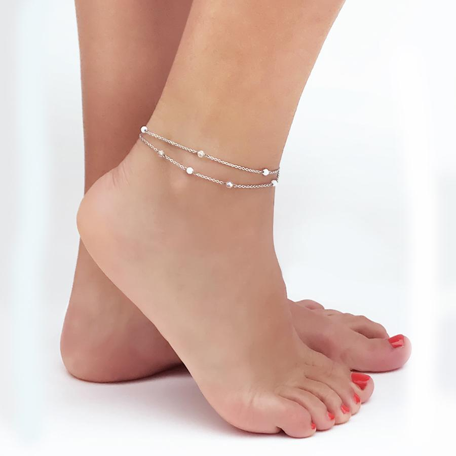 Ankle band double thread with SWAROVSKI white alabaster and aurora borealis