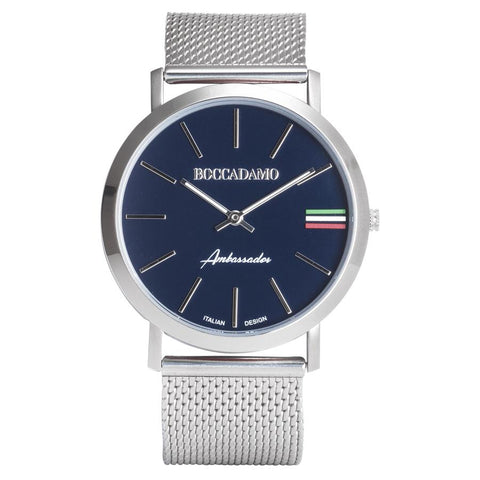 Clock with mesh strap silver, blue dial and tricolor