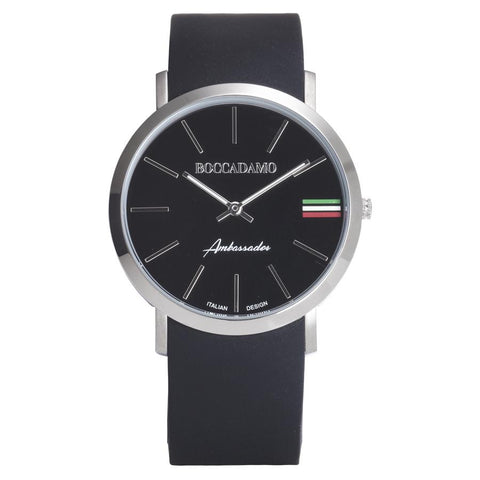 Clock with Silicon Strap, black dial and tricolor