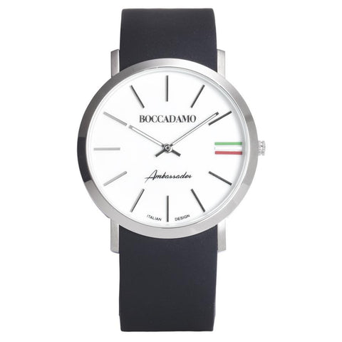 Clock with Silicon Strap, white dial and tricolor