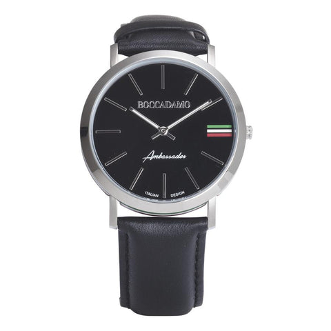 Clock with leather strap, black dial and tricolor