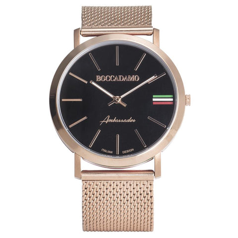 Clock with mesh strap Rosato, black dial and tricolor