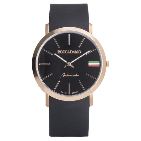 Clock with Silicon Strap, Black Dial, ring rosy and tricolor