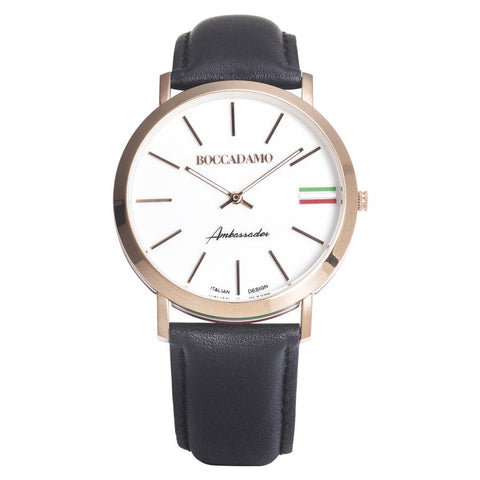 Clock with leather strap, white dial, ring rosy and tricolor