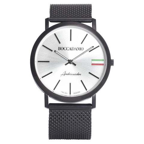 Clock with mesh strap black, silver dial and tricolor