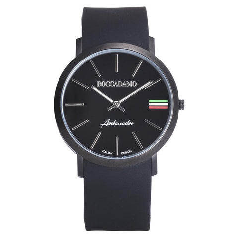 Clock with Silicon Strap, Black Dial, Black ring and tricolor