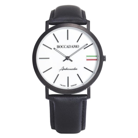 Clock with leather strap, white dial and tricolor
