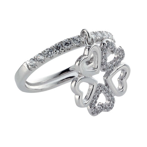 Ring with quadrifoglio composed of hearts