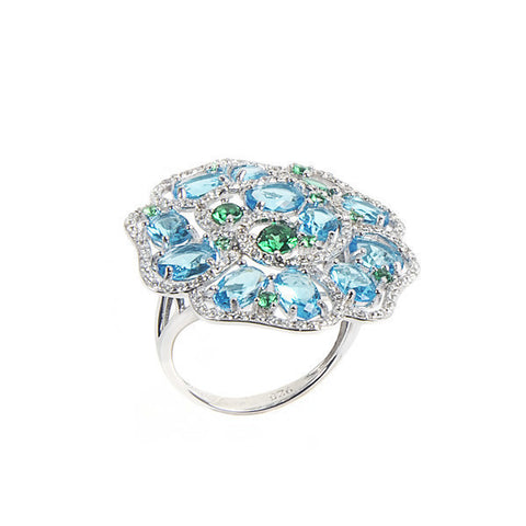 Ring with floral decoration and zircons