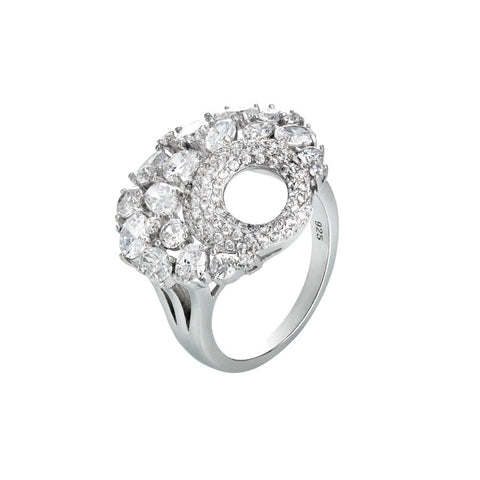 Ring with decorum to corolla and white zircons