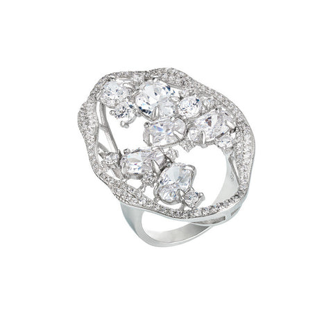 Ring with profile and decoration of white zircons