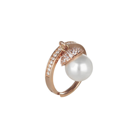 Adjustable ring in silver Rosato, zircons and Swarovski pearl