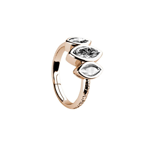 Related product : Plated ring pink gold with decoration of zircons to shuttles brilliant cut