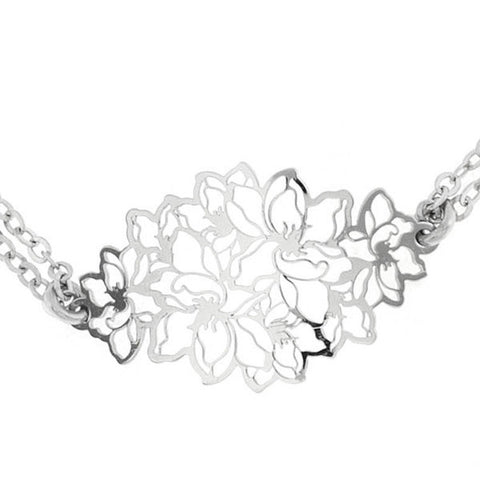 Bracelet in silver with central plot by floral pattern