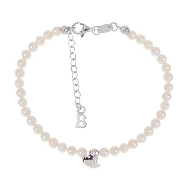 Bracelet with the string of Pearls Natural, heart central abstract and diamond