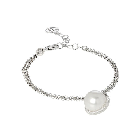 Bracelet with white pearl Swarovski and pavè of zircons