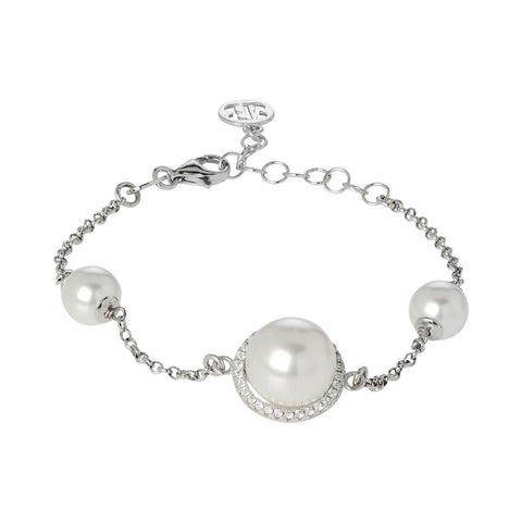 Bracelet with white pearls Swarovski and pavè of zircons