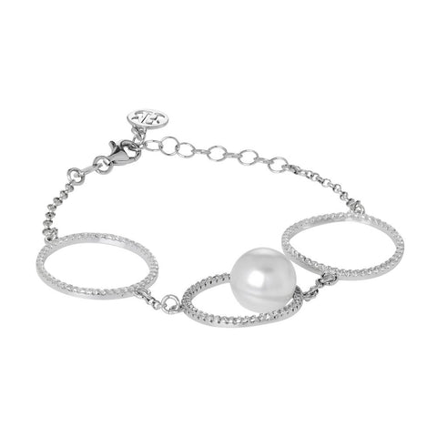 Bracelet with pavè of zircons and Swarovski pearl
