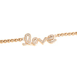 "Rose bracelet with zirconia ""love"" writing"