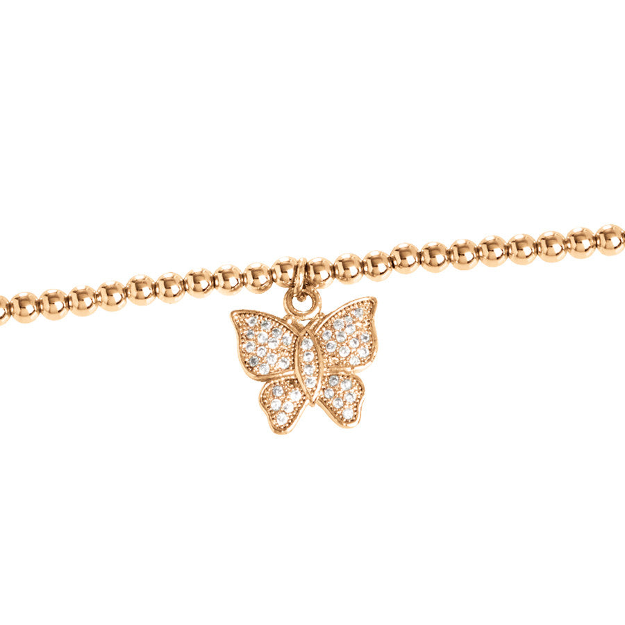 Rose bracelet with central butterfly in zirconia