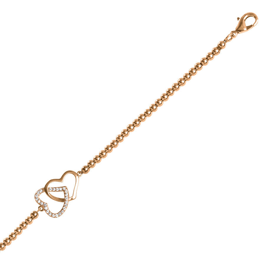 Rose heart bracelet with zirconi braided hearts